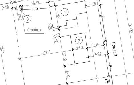 Расположение дома и хозяйственных построек на участке