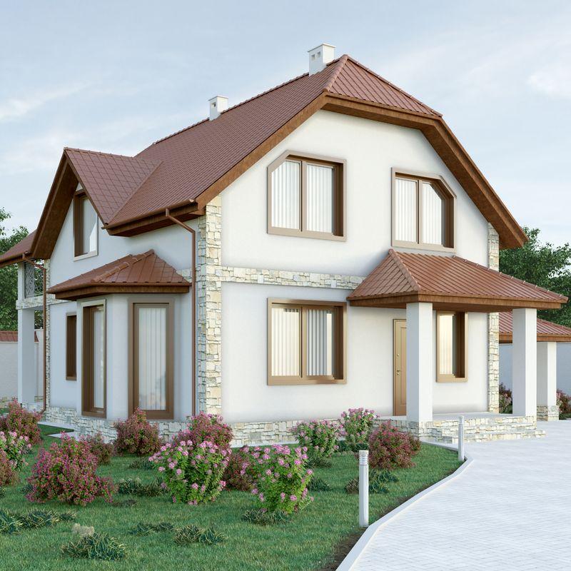 Проект дома мансардного типа с террасой и красивым фасадом мансардного дома