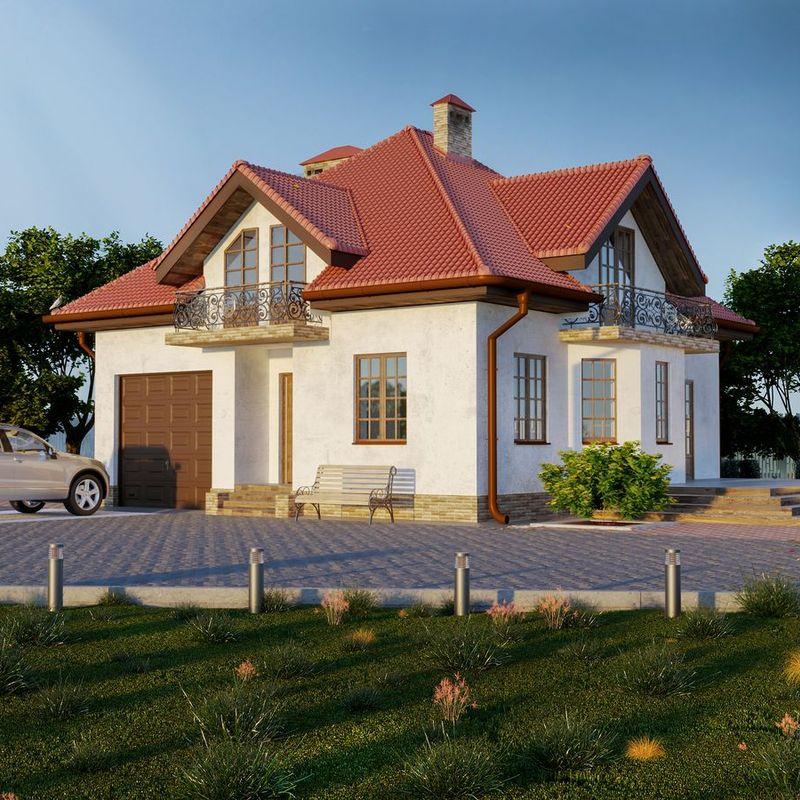 Популярный проект дома с мансардным этажом, с мансардой