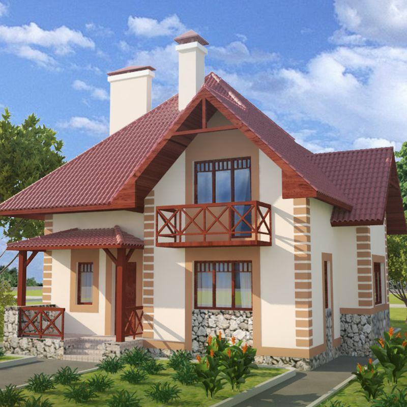 Проект в котором удобная планировка дома с мансардой
