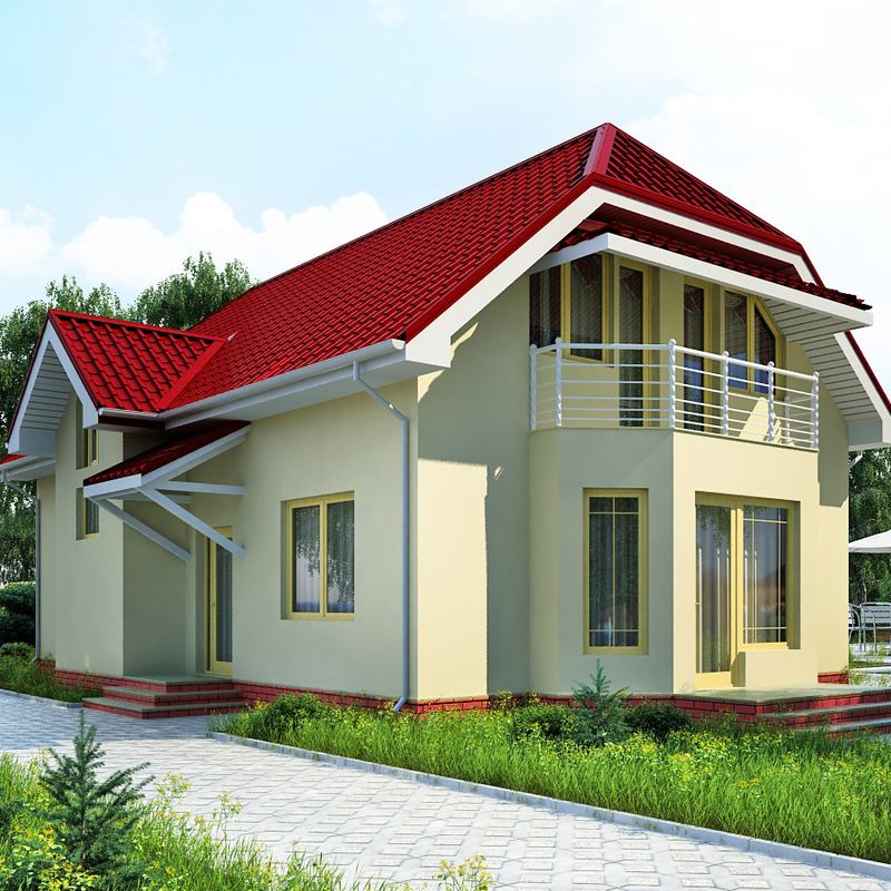 Проект дома с мансардой и гаражом до 200 квадратных метров