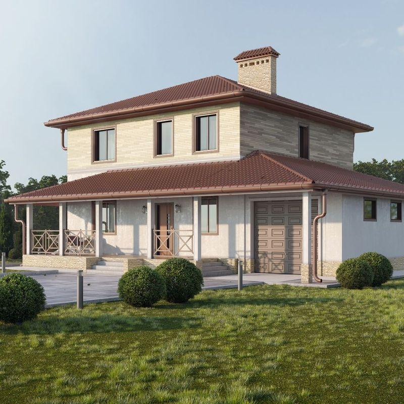 проект двухэтажного дома с террасой, верандой