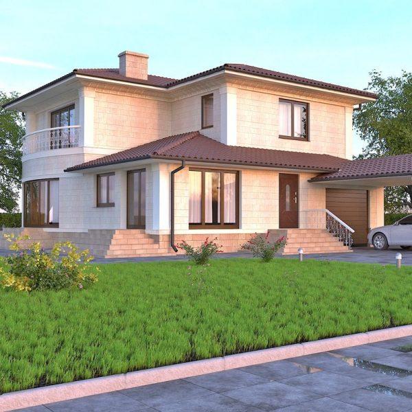 проект дома с фасадом из травертина