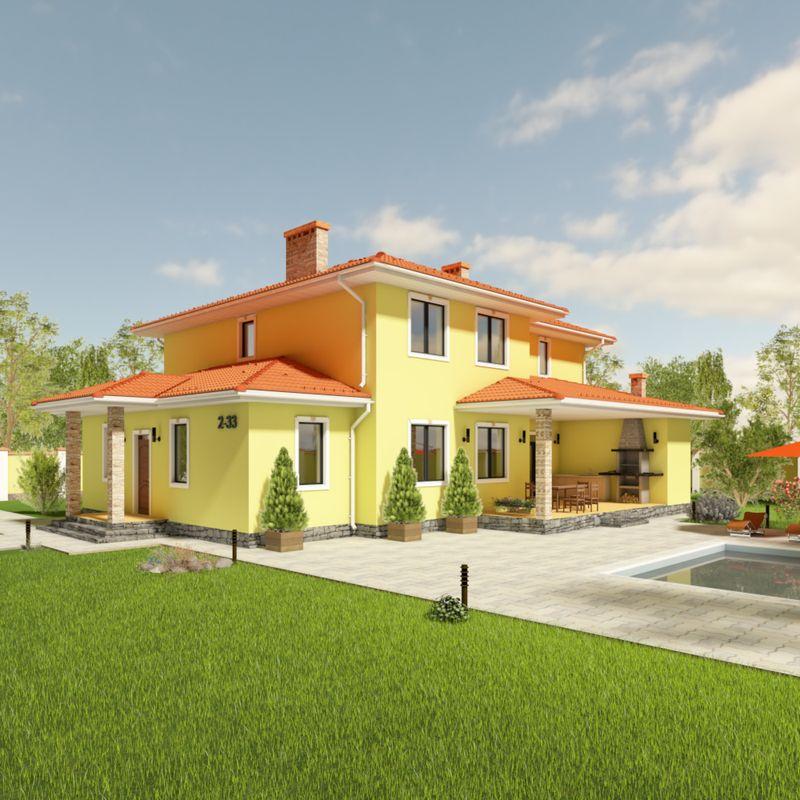 Проект двухэтажного коттеджа с террасой